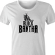 Funny Star Wars Bantha Black Panther mashup white women's t-shirt