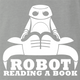 funny Robot Reading A Book Bull Logo Parody Ash Grey t-shirt
