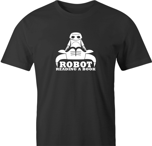 funny Robot Reading A Book Bull Logo Parody men's t-shirt