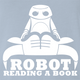 funny Robot Reading A Book Bull Logo Parody Light Blue T-Shirt