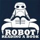 funny Robot Reading A Book Bull Logo Parody Navy t-shirt