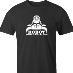 funny Robot having Sex With a Crab Bull Logo Parody men's t-shirt