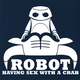 funny Robot having Sex With a Crab Bull Logo Parody Navy t-shirt