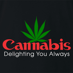 Funny cannabis logo cannon camera parody t-shirt men's white