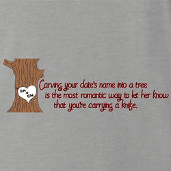 Funny Romantic Carving Names In Tree Parody White Men's T-Shirt