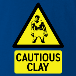 Funny Cassius Clay/Muhammad Ali Warning Sign Parody T-Shirt t-shirt white