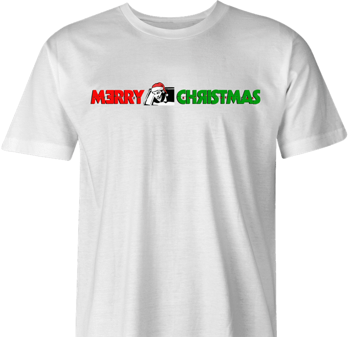 funny and Hilarious Lloyd Christmas wearing Sanata hat Happy Holidays dumb and dumber Parody men's t-shirt white