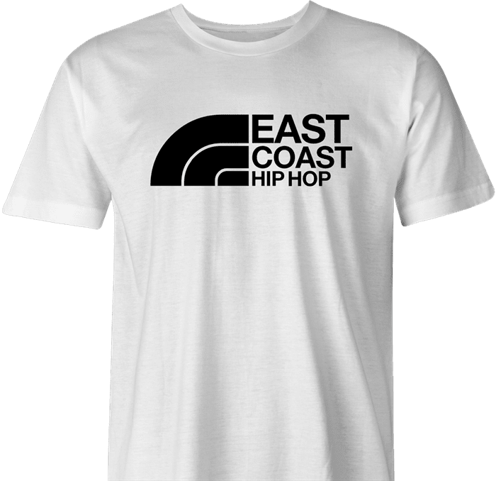 funny east coast hip hop northface rap parody t-shirt white men's