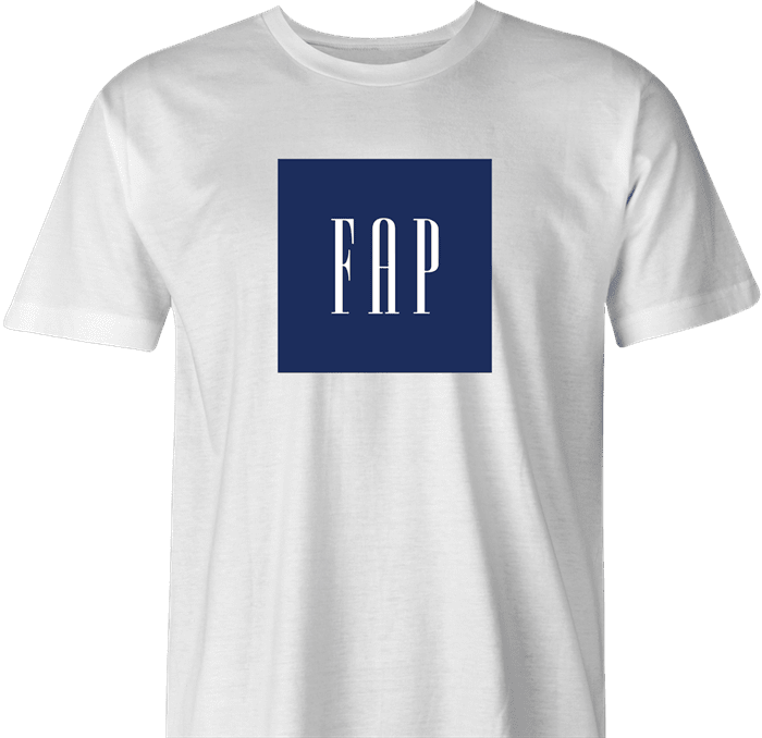 Funny fap masturbating gap parody t-shirt men's white