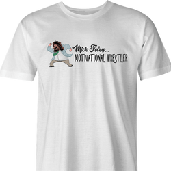 funny Mick Foley Meets Chris Farley Motivational Speaker Mashup WWF SNL Parody white men's t-shirt