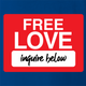 funny free love, inquire below parody Royal Blue t-shirt