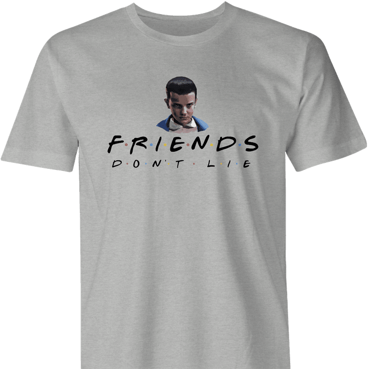 Funny Friends don't lie stranger things mashup men's grey t-shirt