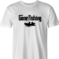 Funny Gone Fishing | Sleeps with the Fish Mafia Mob Parody white men's t-shirt