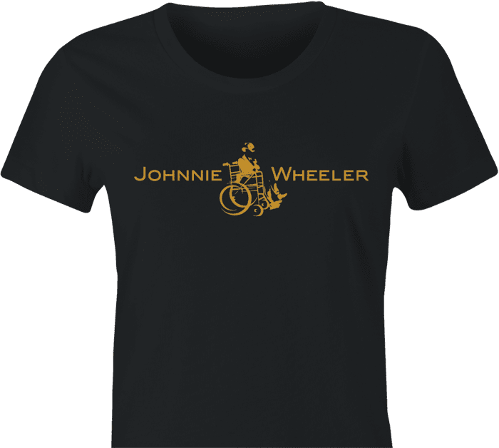 Funny Johnnie walker wheelchair parody women's black t-shirt