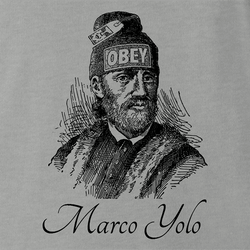 funny marco polo obey yolo  men's light blue t-shirt