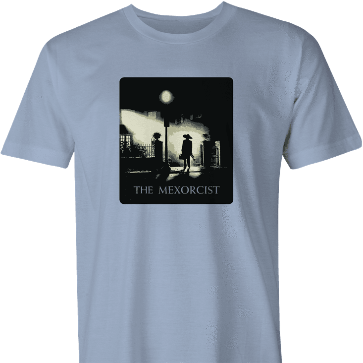 funny the exorcist mexican parody light blue men's t-shirt