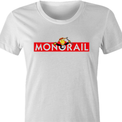 funny The Simpsons Lyle Lanley Monorail Monopoly mash-up white men's t-shirt