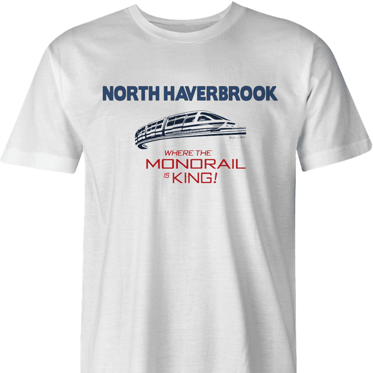 north haverbrook simpsons monorail men's white t-shirt