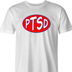 Funny PTSD Oil Parody men's t-shirt white