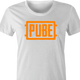 Pube PUBG multiplayer parody gaming women's t-shirt white