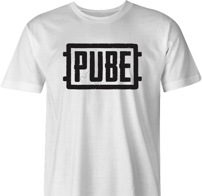 Pube PUBG multiplayer parody gaming men's t-shirt white