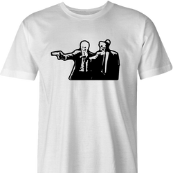 ped's dead cut-out pulp fiction men's white t-shirt