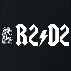 funny R2D2 Star Wars ACDC Mashup men's t-shirt