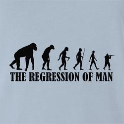 Funny evolution of man regression t-shirt men's white t-shirt