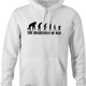 Funny evolution of man regression t-shirt white hoodie