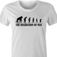Funny evolution of man regression t-shirt white women's t-shirt