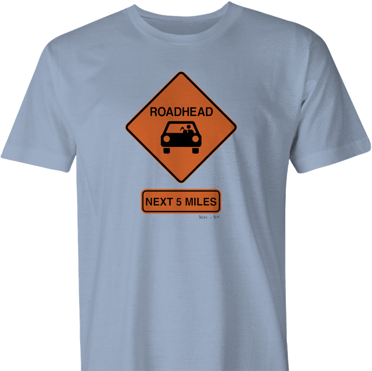funny road head warning sign men's light blue t-shirt