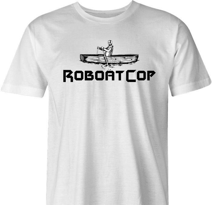 Funny Robocop Rowboat Mashup Golf men's t-shirt white