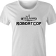 Funny Robocop Rowboat Mashup Golf women's t-shirt white