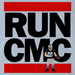 Funny Christian McCaffrey Carolina Panthers - Run CMC | Run DMC Mashup Parody white men's t-shirt