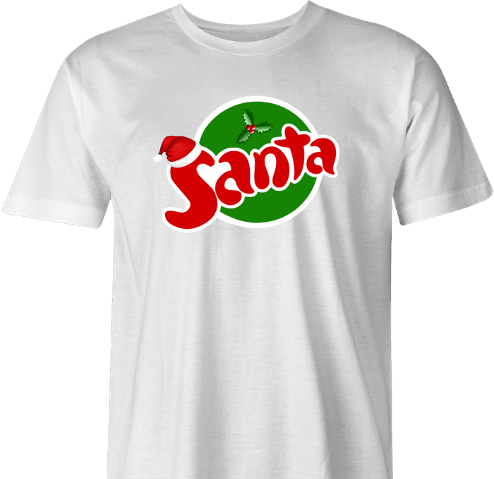 funny Santa Clause Christmas Fanta Soda Pop Soft Drink Parody parody men's t-shirt white