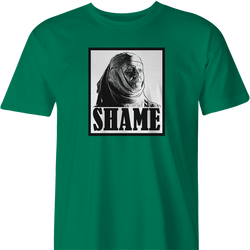 funny game of thrones shame parody t-shirt men's green