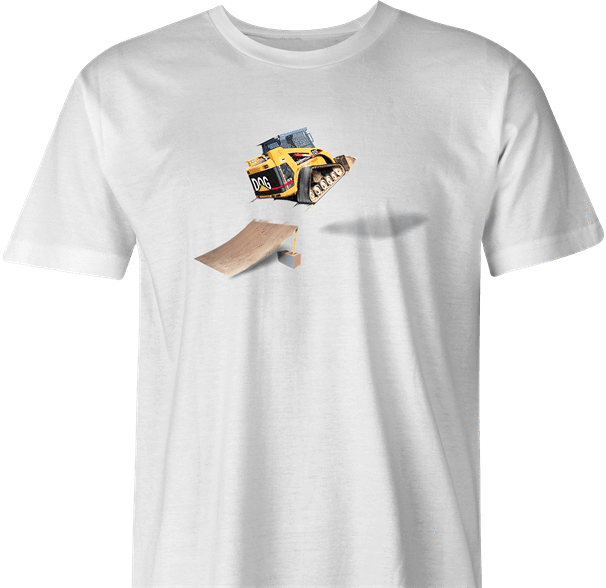 funny Awesome Bulldozer Ramp Jump - Skid Steer Jumper white men's t-shirt
