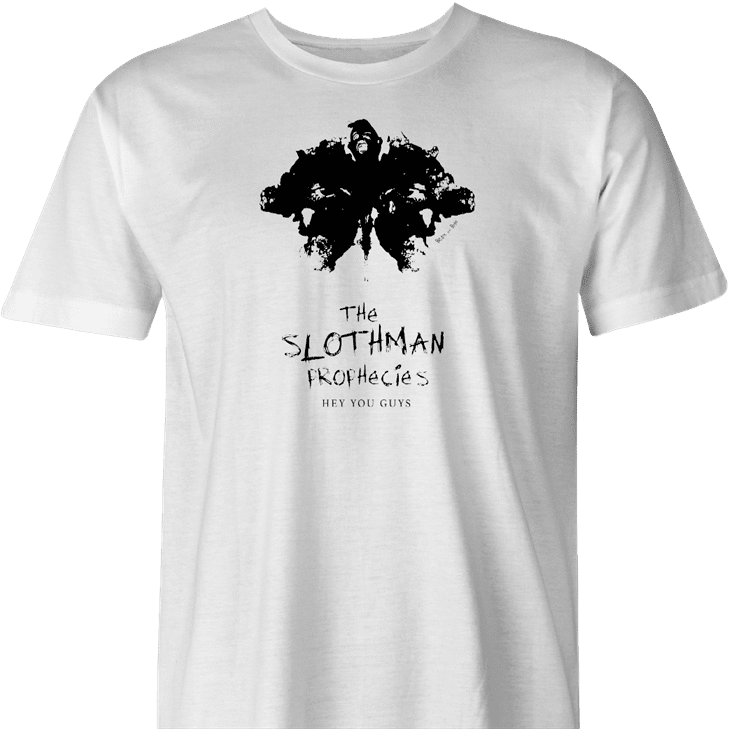 funny sloth from goonies mothman prophecies mashup t-shirt men's white