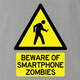 Zombie Walking With Cellphone funny t-shirt grey