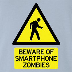 Zombie Walking With Cellphone funny tee white