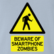 Zombie Walking With Cellphone funny t-shirt light blue