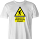Zombie Walking With Cellphone funny t-shirt men's white