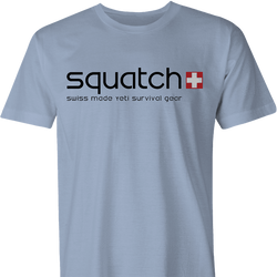 funny bigfoot squatch swatch men's light blue t-shirt