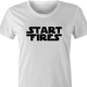funny Start Fires Star Wars Parody white women's t-shirt