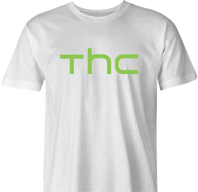 funny Marijuana THC Weed HTC mashup white men's t-shirt