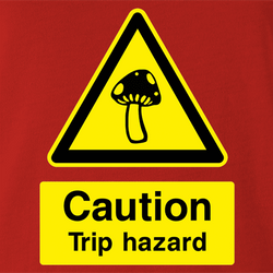 funny warning magic mushrooms trip men's white t-shirt