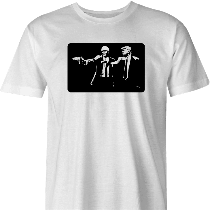 funny donald trump mike pence pulp fiction men's white t-shirt