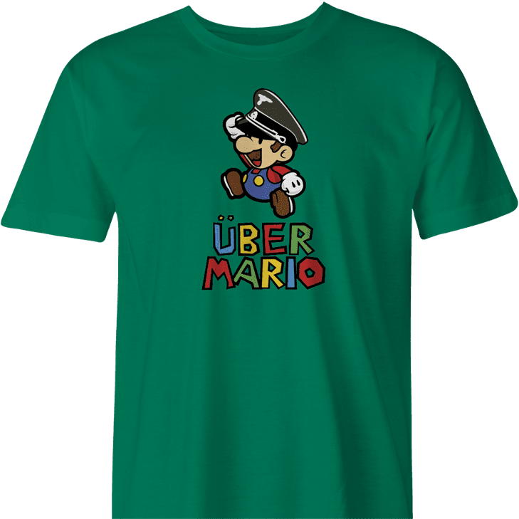 funny german nazi super mario men's green t-shirt
