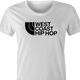 cool West Coast Hip Hop northface hip hop parody t-shirt white women's