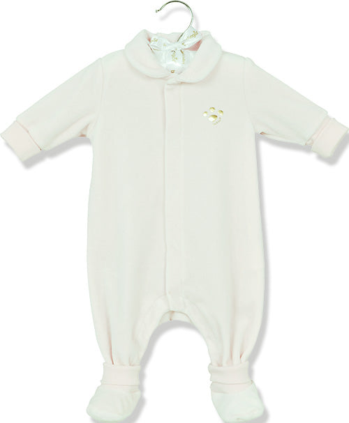 Berlingot Blue Velour footprint playsuit